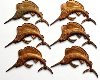Brass Stampings, Brass Sailfish , Sailfish Stampings, Beach Jewelry, Gingerbread Patina Brass, US Made, 29 x 52mm, Bsue Boutiques, Item02084