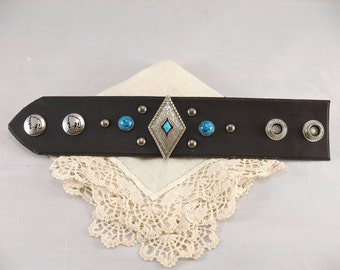 Leather Cuff with Silver and Turquoise XS/S