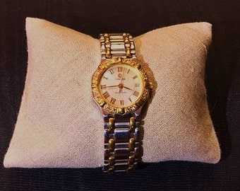 Stunning and Rare Vintage Concord Saratoga Ladies Watch. Diamond & 18k Rose Gold Bezel with 18k  Rose Gold/Stainless Strap