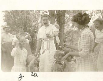 "Vintage Photo ""Playing Spoon Games"" Victorian-Era Children Women Real Photo Postcard RPPC Antique Found Photo"