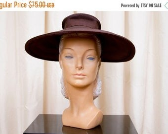 SPRING SALE 1940s Hat // Wide Brim Hat Brown Straw New York Creation