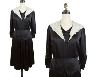 1930s Dress // Black Satin Scallop Peplum Embroidered Lace Collar Dress