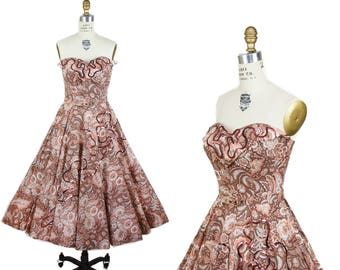 1950s Dress // Strapless Sequin Pink and Brown Chintz Full Skirt Party Dress with Shawl