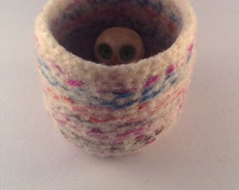 Felted wool bowl, felted container, desktop storage, office decor, rainbow colored wool