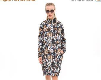 Allover pattern, floral print, floral dress, Vici dress, Sweatshirt Dress - everyday dress- Hoodie Dress - cool dress, timeless dress