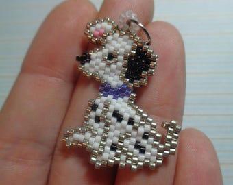 dog charm, beaded dog dalmatian, dalmatian keychain, beaded keychain, beaded charm, brick stitch, beaded charm animal, dog charm, dalmatian