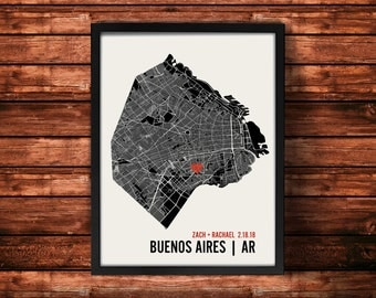 Buenos Aires Wedding Map Art | Buenos Aires Wedding Gift | Buenos Aires Art Print | Buenos Aires Poster | Buenos Aires Map