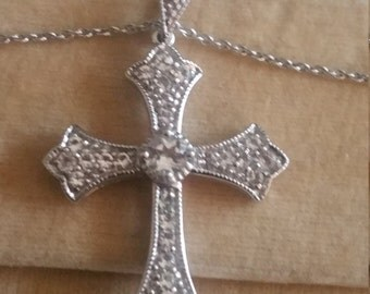 Vintage Sterling silver and CZ crystal Sparkling Cross