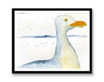 Seagull Original watercolor painting, Original painting not print, signed on front and back. Impressionist painting of a herring gull