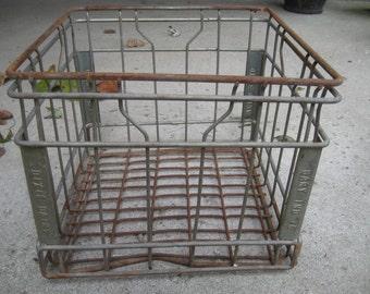 Vintage Metal Wire Milk Crate Dixie Dairy Gary, IN. Storage Bin Side Table Industrial
