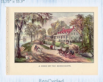 Homes from 1871 Currier & Ives Vintage Lithograph Print Home on Mississippi Western Farmers Home Paper Ephemera Book Page  zyx3-4