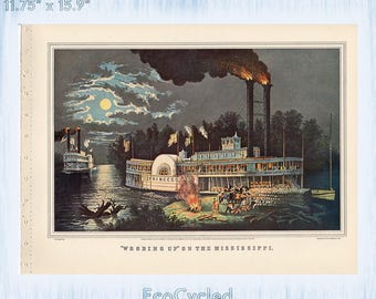 Americana Currier & Ives Vintage Lithograph Print Wooding Up on the Mississippi Paper Ephemera Book Page ready to frame print zyx20