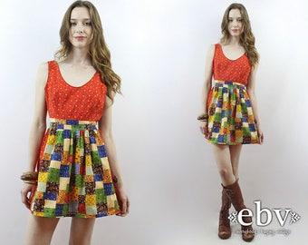 Patchwork Mini Dress Babydoll Dress 70s Dress 1970s Dress Hippie Dress Hippy Dress Boho Dress Dolly Dress Summer Dress Festival Dress M