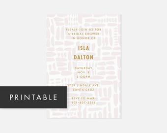 Minimalist Modern Printable Invitation / Simple DIY Invite / Bold Pattern / Yellow and Gray / Bridal Shower, Baby Shower, Adult Birthday