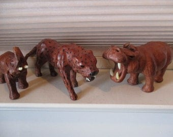 Three Wild Animals Made From Leather? - Baby Elephant, Hippo, Cheetah