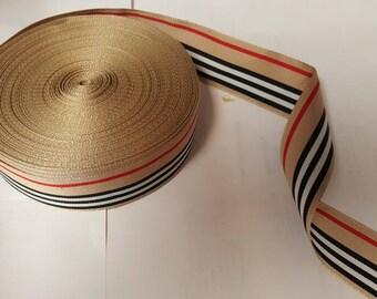 "Designer Look Vintage Stripe Grosgrain 1.5""  Ribbon Tan Red Black White  approx 38 yards"