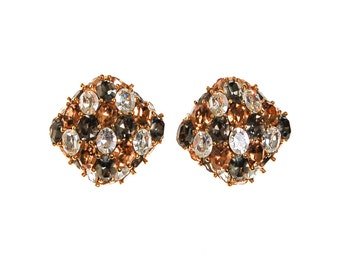 Ciner Champagne, Diamante, and Smoke Rhinestone Earrings, Squared, Cushion Shape, Clip On, Runway, Designer, Couture Style, 1980s