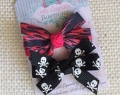 "Pink Flames and Black Skulls {MADE TO ORDER} ~2"" Mini Pinwheel Hair Bows on a Single Prong Alligator Clip with Grippy"