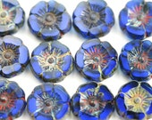 12mm Dark Blue Pansy flower bead, Picasso Czech glass fire polished Flowers, table cut Daisy, Rustic floral beads - 6pc - 2290
