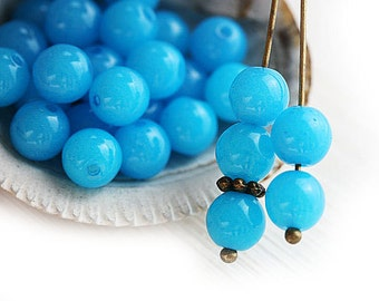 Bright Blue round beads, 6mm spacer beads, Czech glass, druk, pressed beads - 6mm - 30Pc - 1031