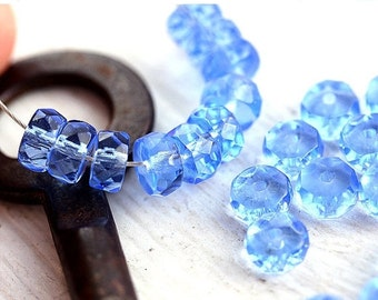 ON SALE Light Sapphire Blue Rondelle beads, brown fire polished czech glass spacers - 6x3mm - 25Pc - 1313