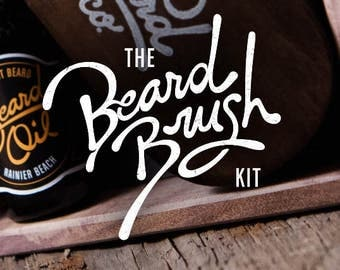 BEARD BRUSH KIT: Brush & oil – Beard and mustache box kit, mens gift