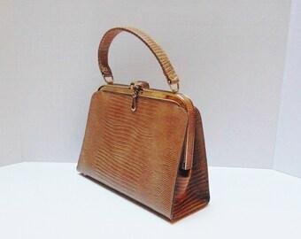 Vintage Frame Handbag 50s Mad Men Vintage Handbag Faux Snakeskin Frame Bag