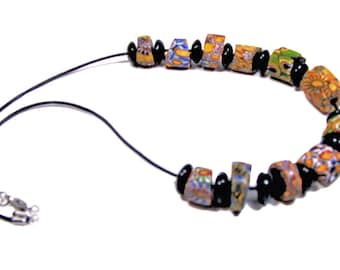 African Trade Beads Made in Italy,  glass, colorful, rugged, unisex necklace,  etsyhandmade, country look