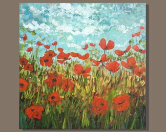 FREE SHIP semi abstract painting, orange poppies painting impressionist painting, flower painting, square painting, field landscape painting