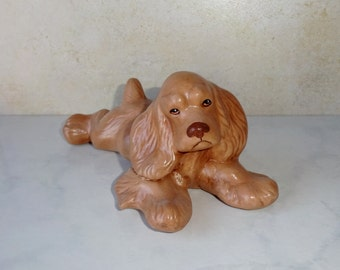Vintage Ceramic Fog Figurine Cocker Spaniel Ceramic Mold Medium