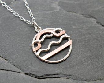 Aquarius libra zodiac necklace sterling silver