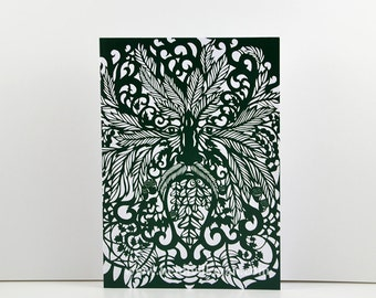 Green Man - Greeting Card - With Original Paper Cut Art - With Envelope