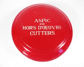 Vintage Aspic and Hors Doeuvre Cutters and Tin - Tala Made in England Aspic and Hors Doeuvre Cutters