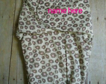Custom Personalized Minky Swaddle Blanket Girly leopard