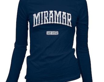Women's Miramar San Diego Long Sleeve Tee - S M L XL 2x - Ladies' T-shirt, Gift For Her, Girl, Miramar Shirt, MCAS, Marine Corps Air Station