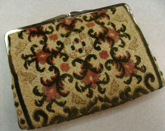 VINTAGE CARPETBAG CLUTCH purse upholstery bag 60's 70's