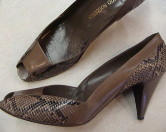 ROBERTO NOGUERON leather and SNAKESKIN heels peep toe 11