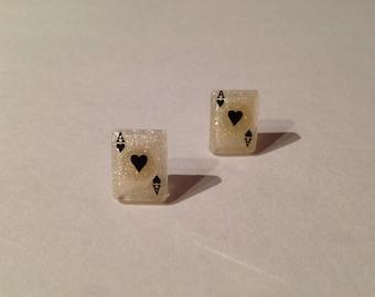 Playing Card Stud Earrings
