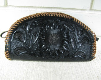 Vtg black stamped leather pouch