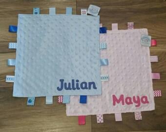 Taggy Blanket PERSONALISED Baby Comforter/Comfort Blanket -New Baby Boy/Girl Gift - Keepsake