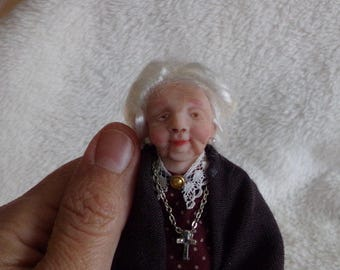 Ooak miniature grandma  for Dollhouse 1:12 scale
