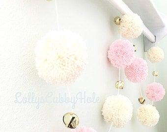 Pom Pom Garland - Pink & Ivory w/Jingle Bells - Baby - Nursery - Wedding - Farmhouse - Decor - Photo Prop