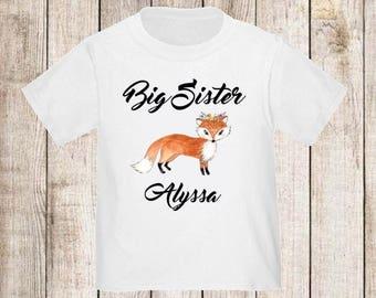 Big Sister Fox Personalized T Shirt Big Sister tshirt