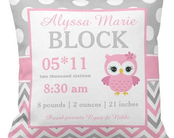 Owl Pink Birth Announcement Pillow Cover and Insert