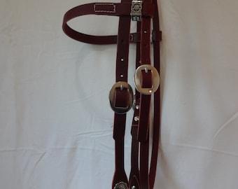 Headstall Napa Burgundy Latigo Leather Western Browband Horse West Coast Tack Jeremiah Watt Conchos Stainless Cart Buckles