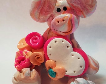 Valentine's day monkey with hearts, hearts that can be personalized, whimsical love monkey, polymer clay, Valentines gift,