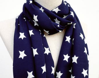 Star Scarf, White Star Scarf, Navy Blue Scarf, Infinity Scarf, Loop Circle Scarf