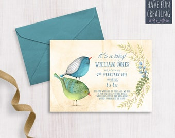Baby Boy Announcement: Birds - Print at home