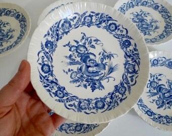 Vintage Wedgwood Cornflower Blue and White Saucers - Set of 6 - Made in England - Floyd Jones Vintage