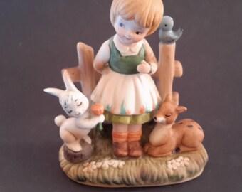 Girl Bunny Fawn  Figurine Enesco Vintage